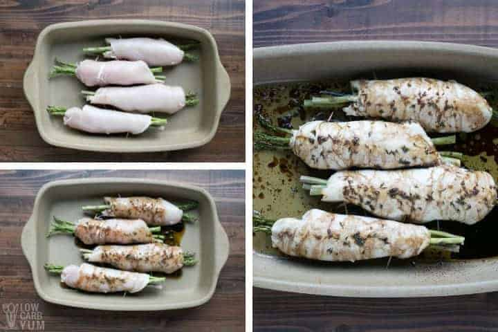 Preparing and baking the asparagus stuffed chicken