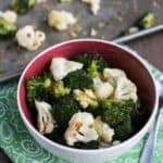 Roasted broccoli and cauliflower in bowl