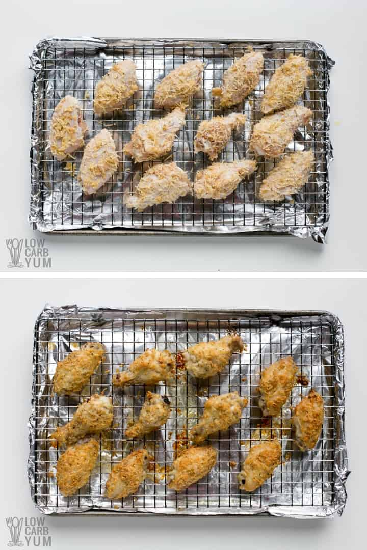 Baking garlic parmesan chicken wings