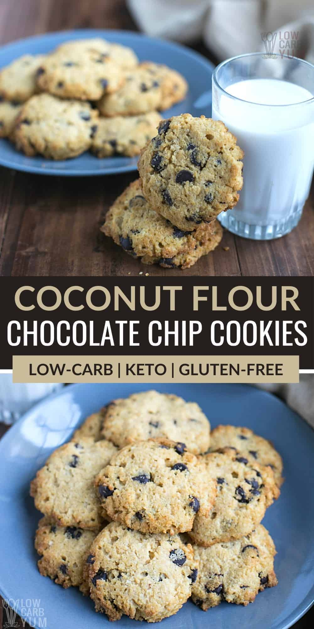 coconut flour chocolate chip cookies pinterest image