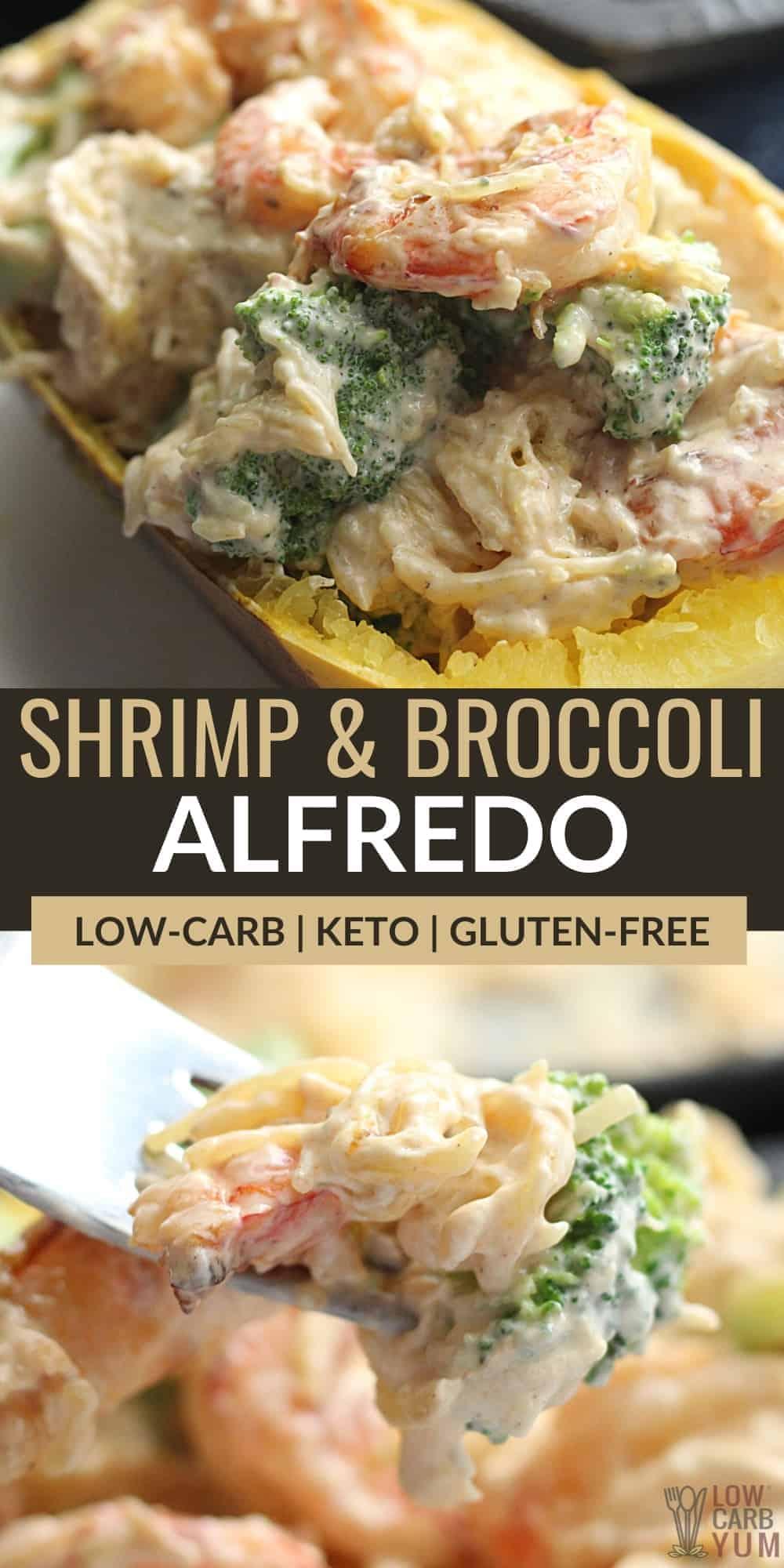 shrimp spaghetti squash alfredo pinterest image