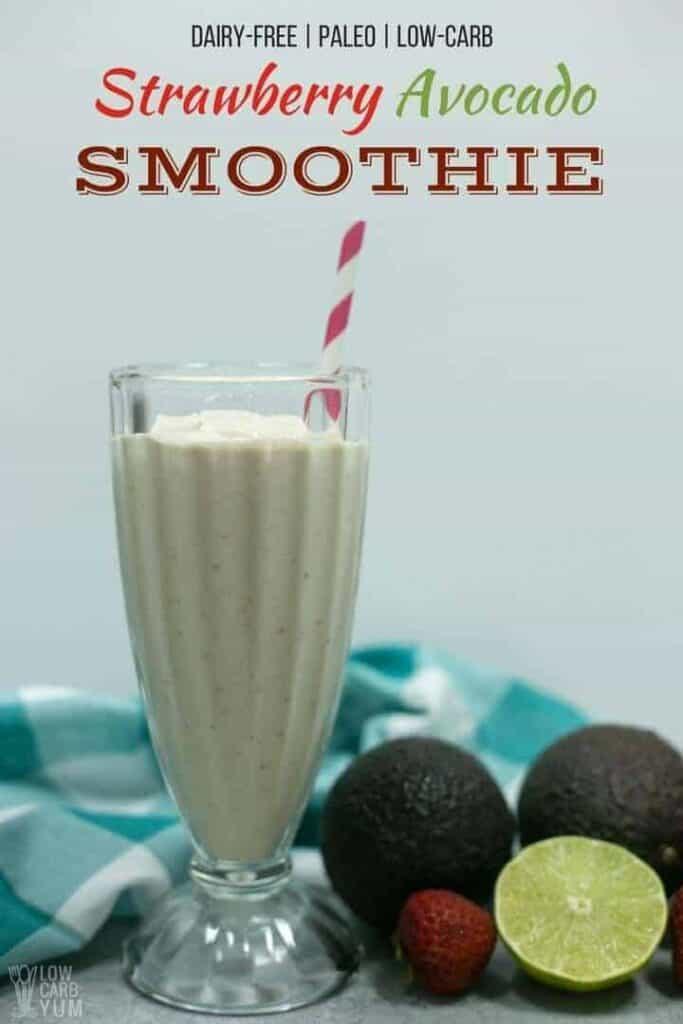 strawberry avocado low carb paleo dairy free smoothie