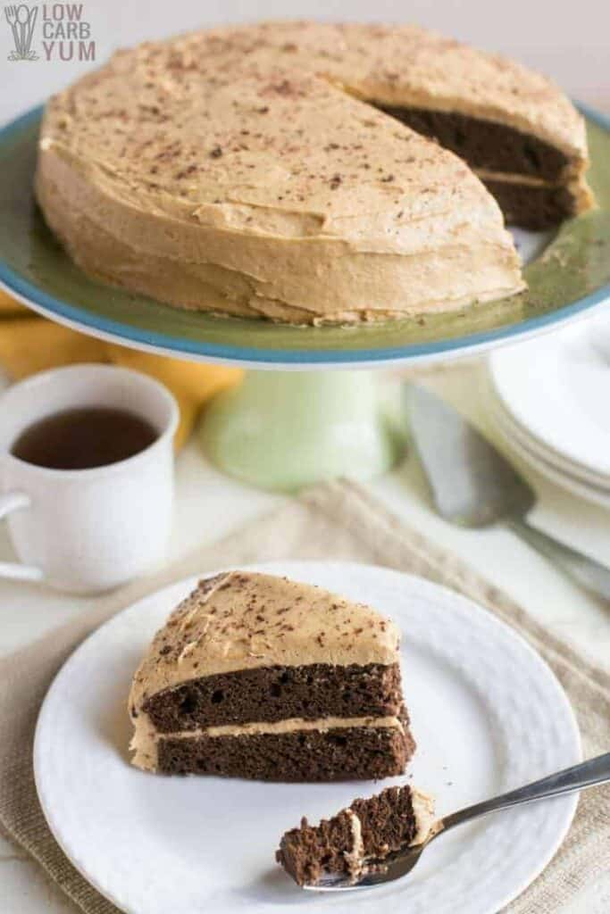 Fork bite of chocolate peanut butter cake