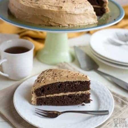 Chocolate Peanut Butter Cake on plate and on cake platter