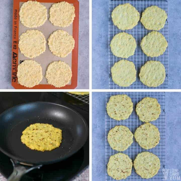 Cooking the cauliflower tortillas