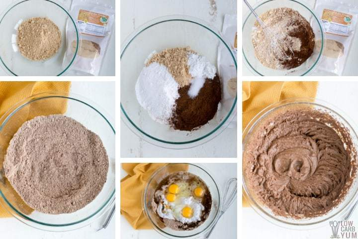 Making the low carb chocolate peanut butter cake batter