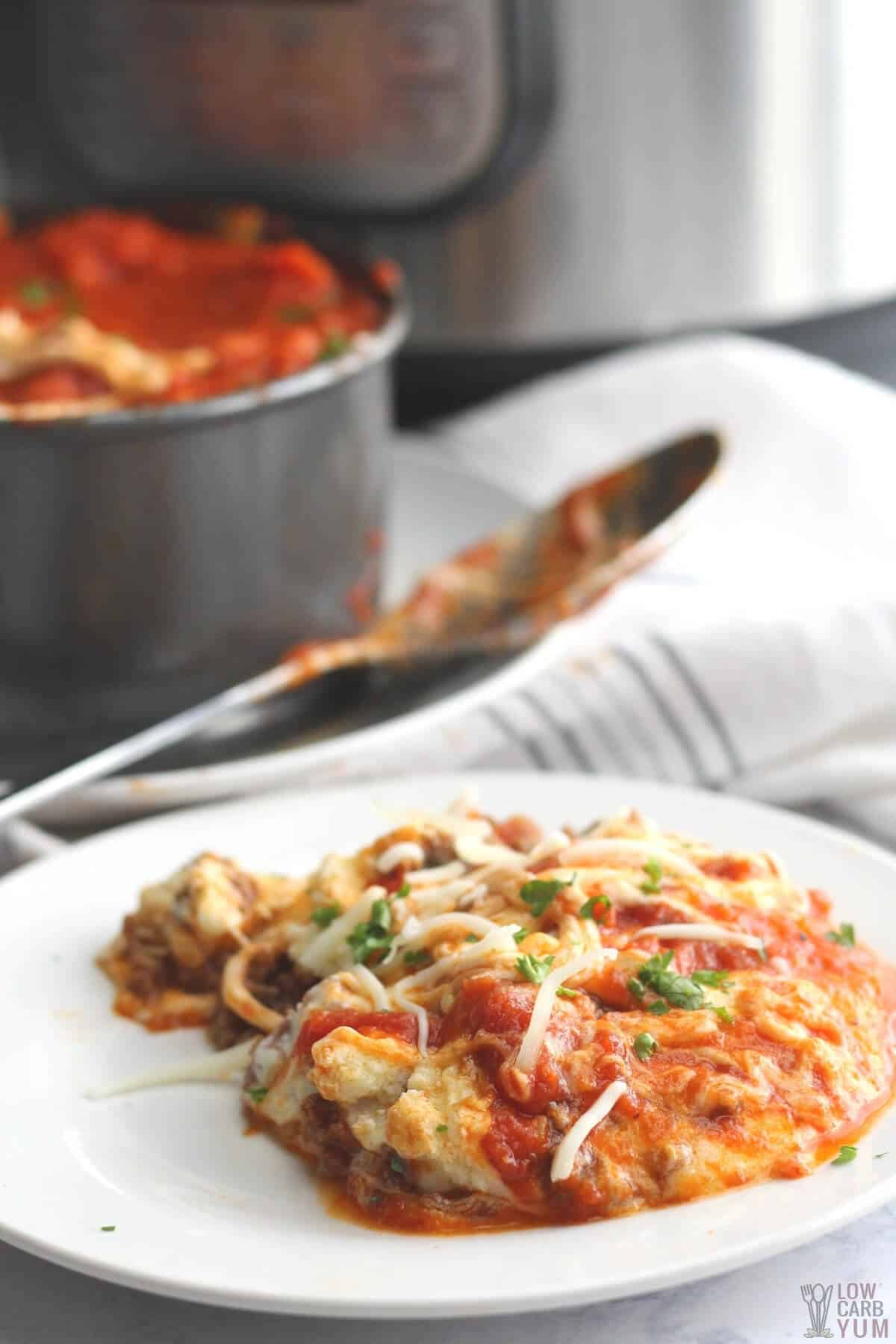 no noodle lasagna keto instant pot recipe on plate