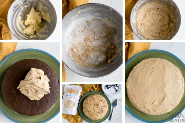 Making the sugar free peanut butter frosting