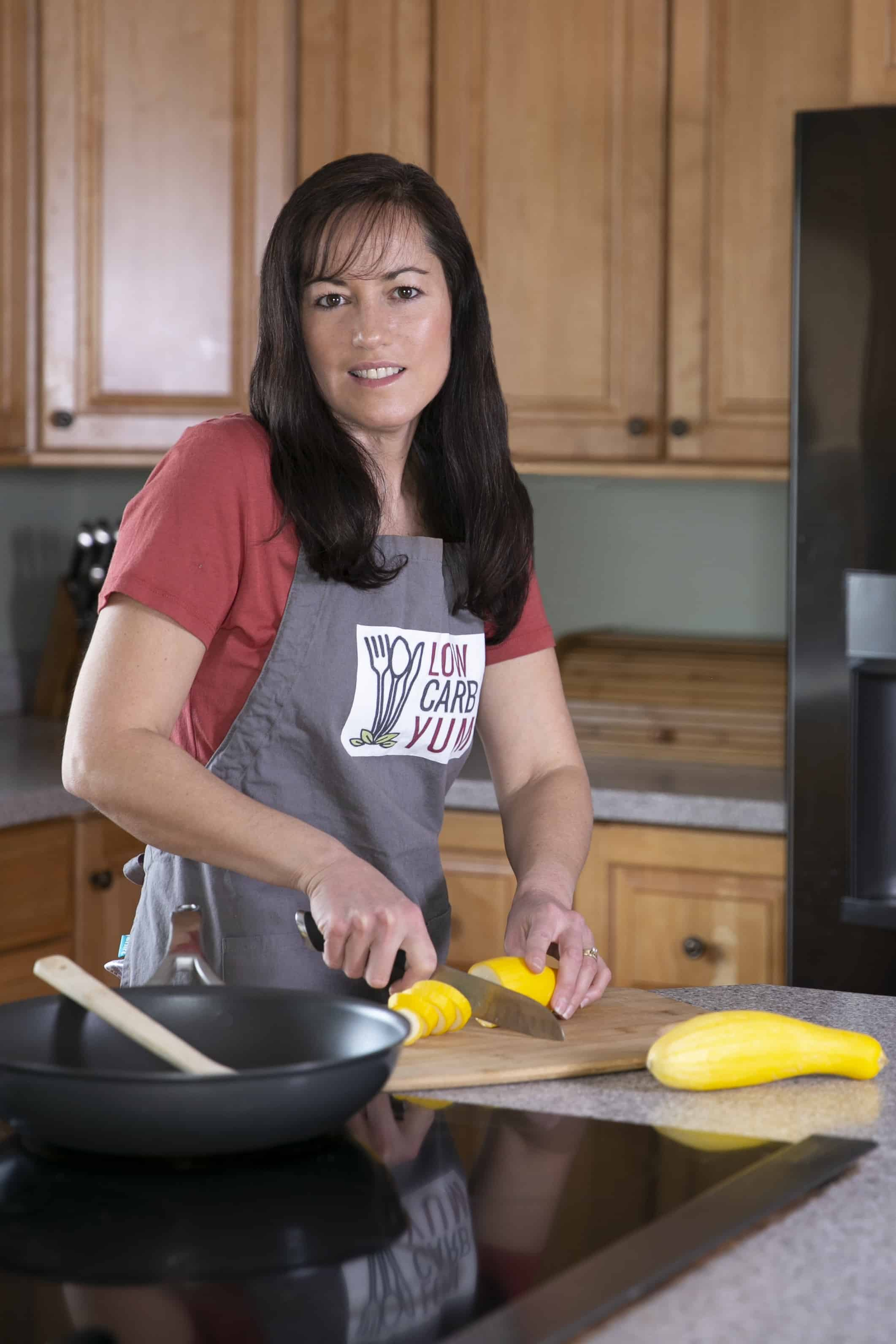 Lisa chopping squash