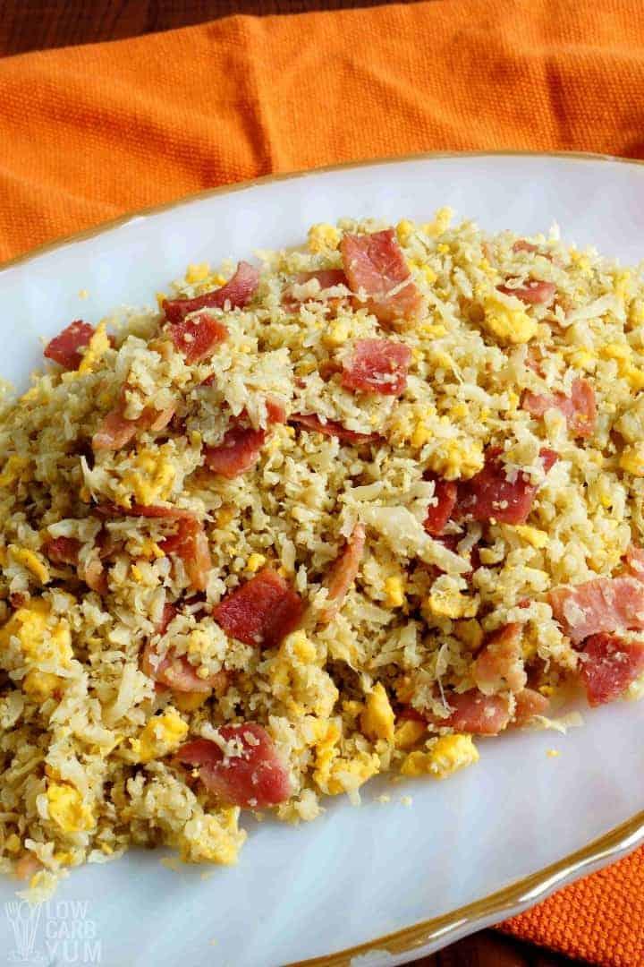 Platter of Filipino garlic fried rice