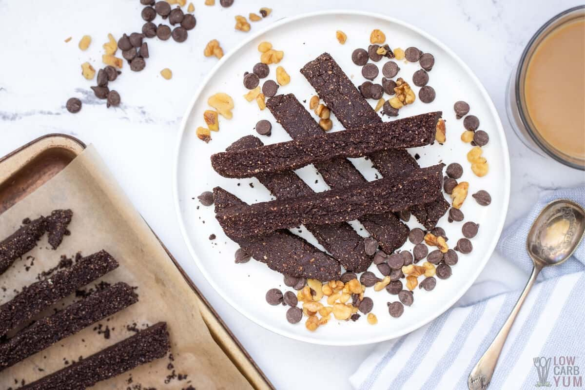 chocolate almond biscotti on plate