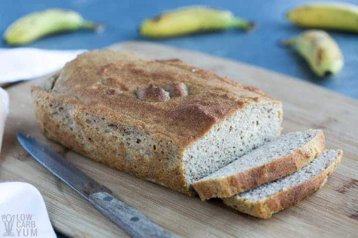 Sliced loaf of banana bread made with coconut flour
