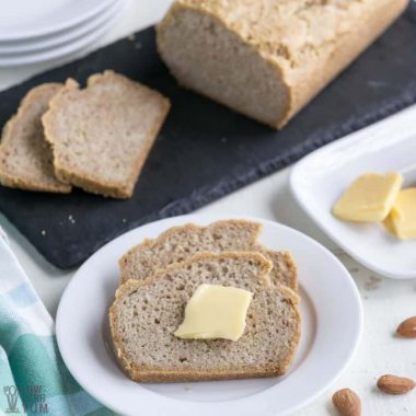 almond flour bread with butter on plate