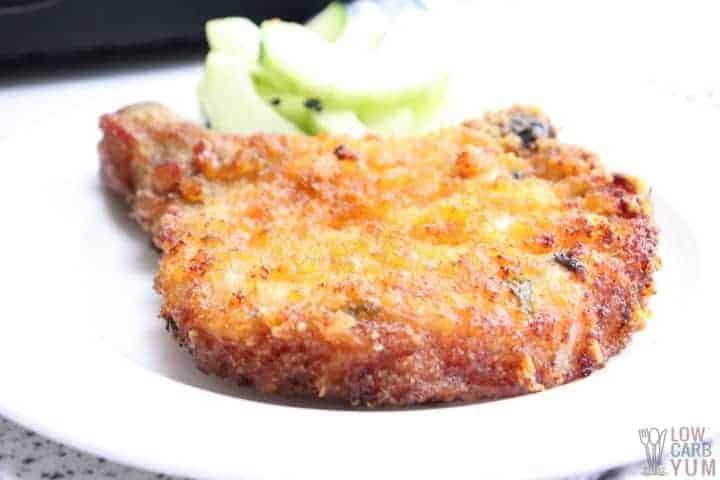 breaded keto pork chop on plate