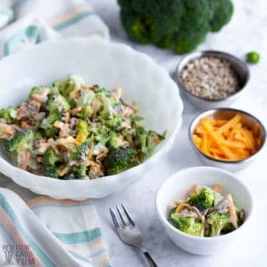 keto broccoli salad with fork and ingredients