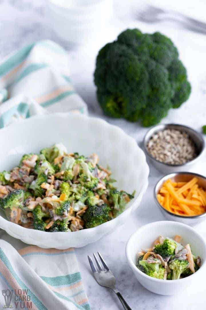 low carb broccoli salad with ingredients
