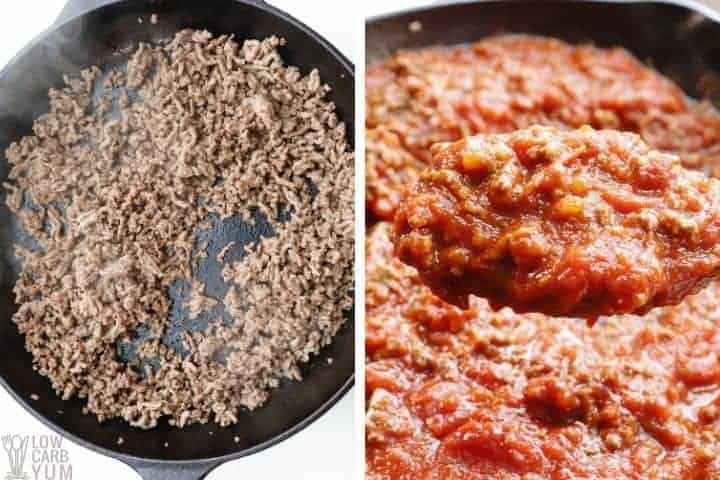 cast iron skillet with meat and tomatoes for low carb meat sauce