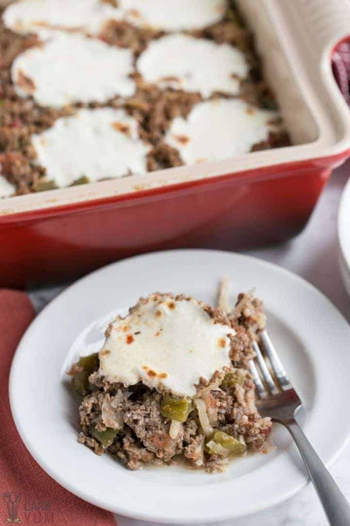 undone stuffed pepper casserole on plate with fork