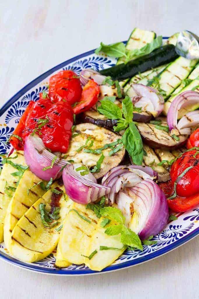 platter of balsamic grilled vegetables