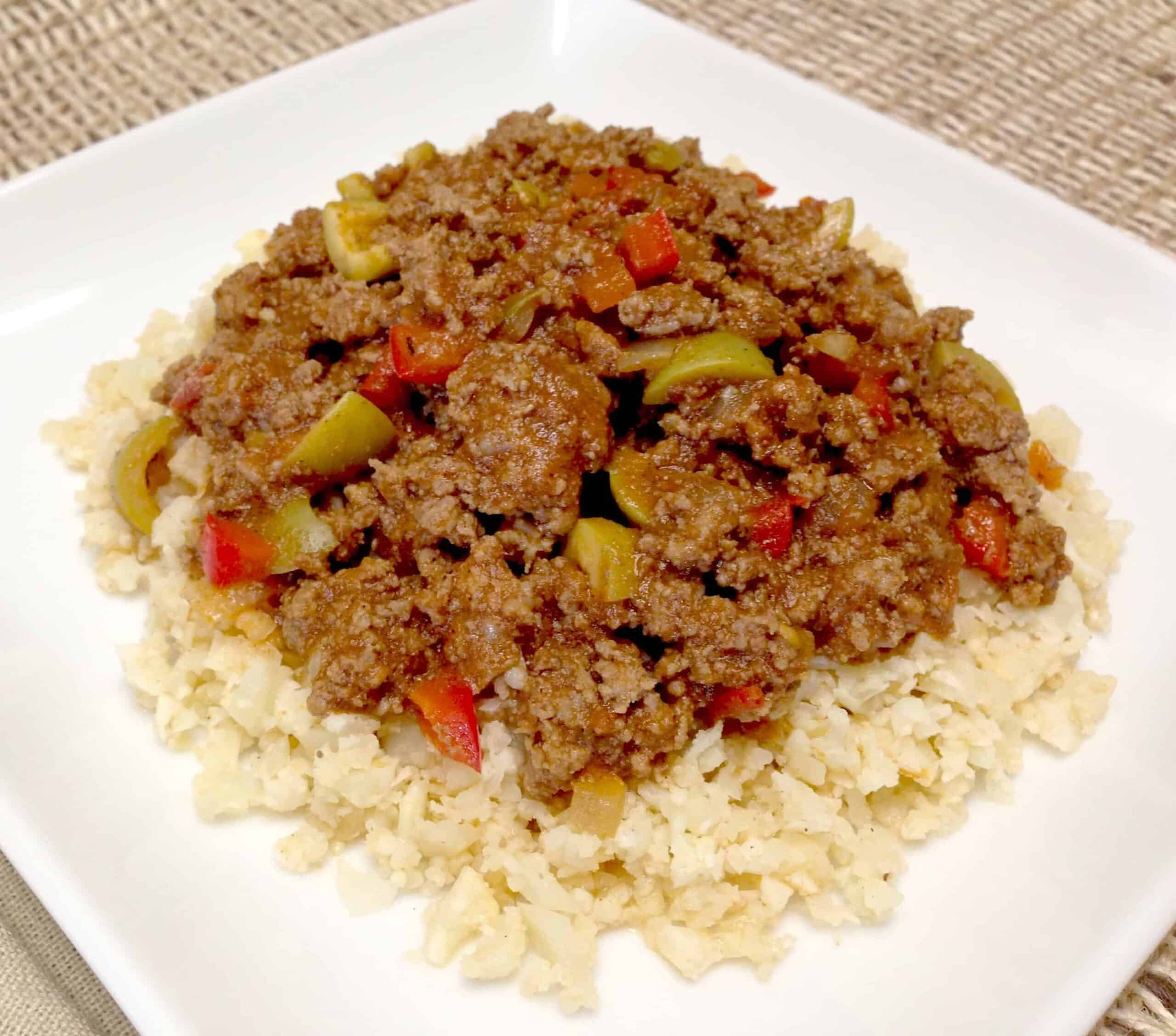 Keto Ground Beef with vegetables over cauliflower rice