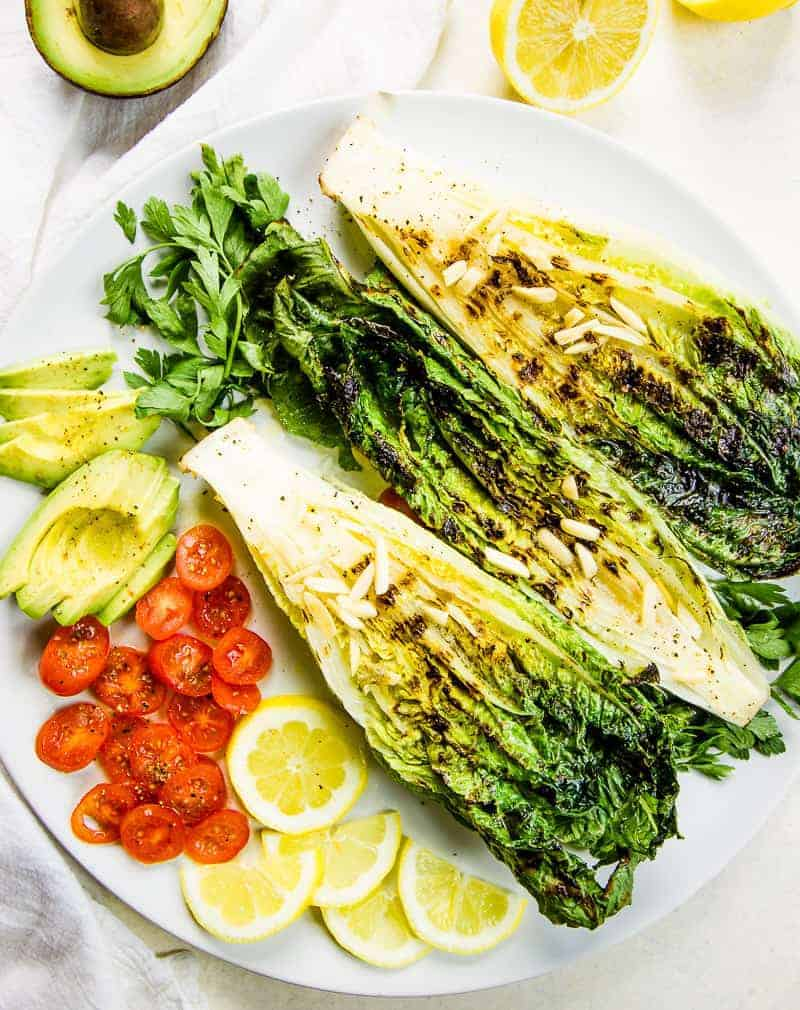 grilled Romaine salad with lemon and avocado low carb side dish