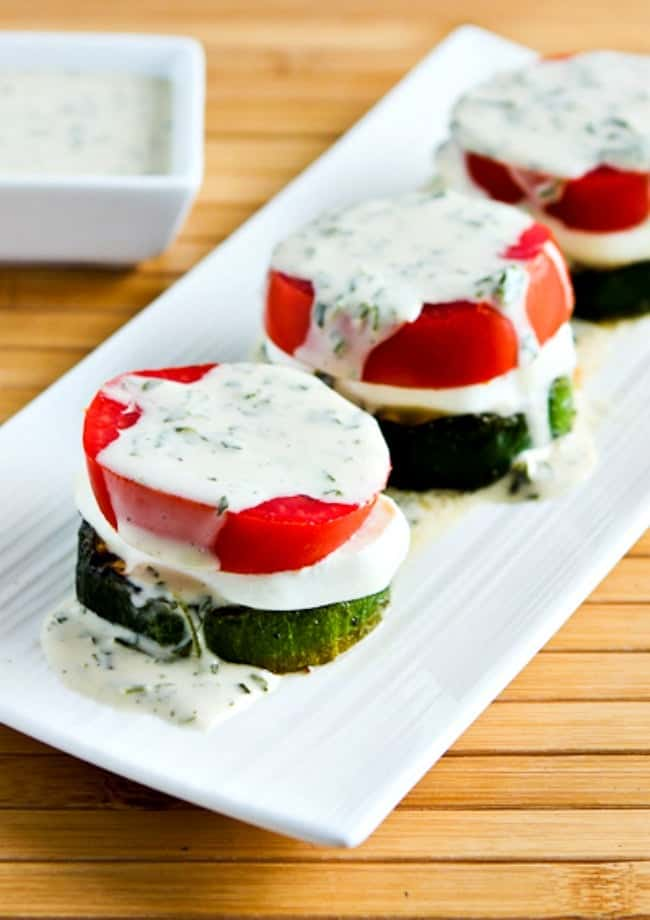 stacks of zucchini tomato and mozzarella cheese keto side dish