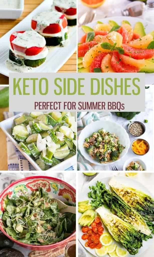 photo collage of keto side dishes