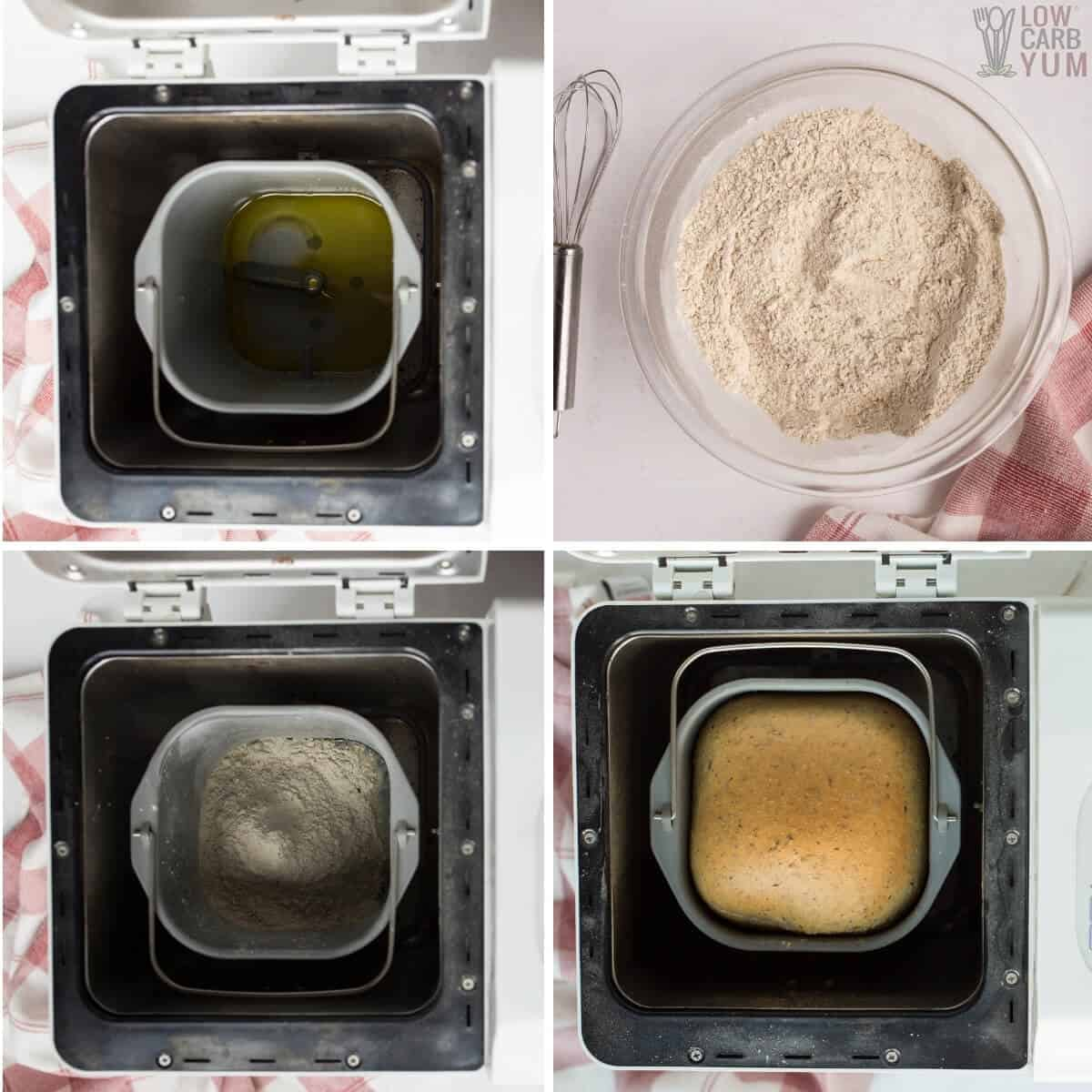 keto bread machine recipe steps collage