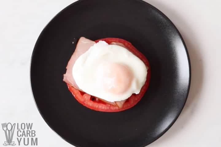 assembling keto eggs benedict