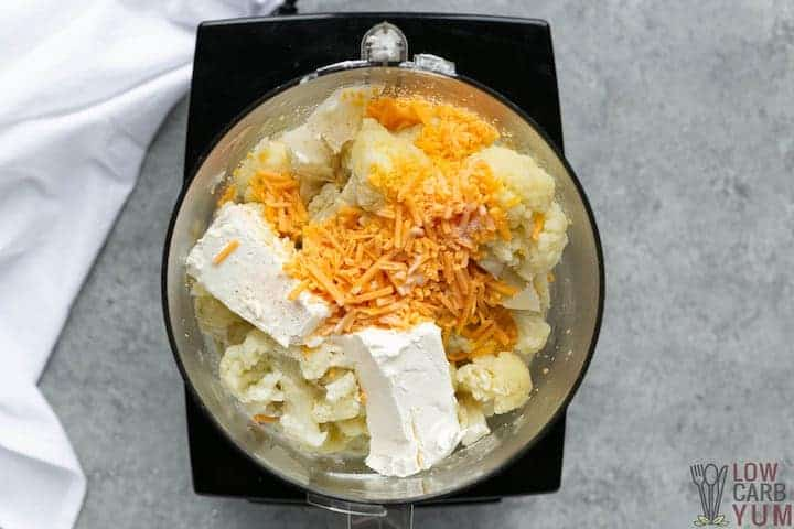 mashing cauliflower cheese topping in food processor