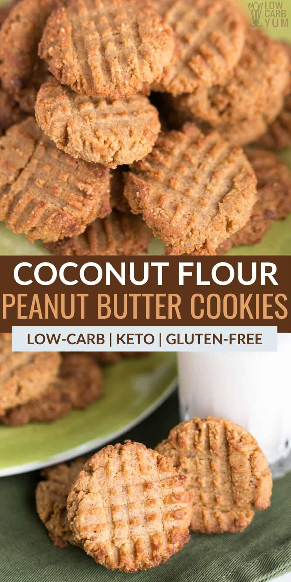 coconut flour keto peanut butter cookies pinterest image
