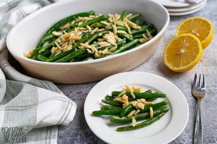 green beans almondine plate