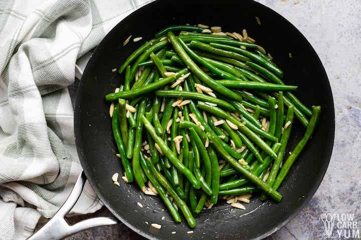 green beans and almonds in skillet