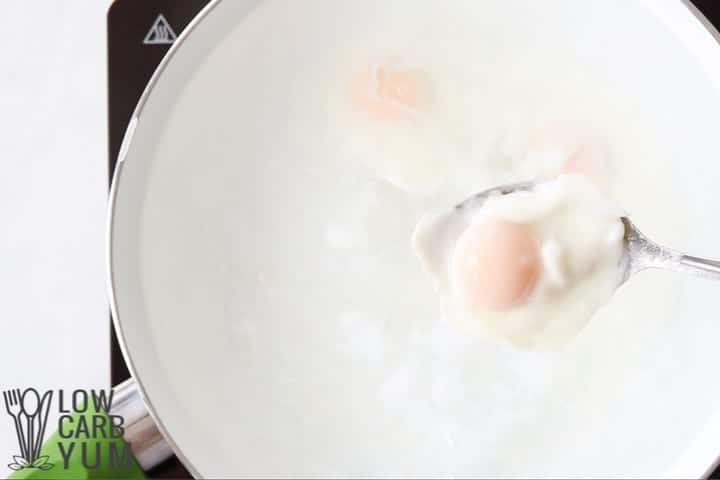 poached egg on spoon