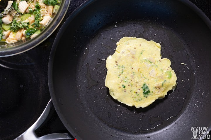 egg foo young omelette in pan
