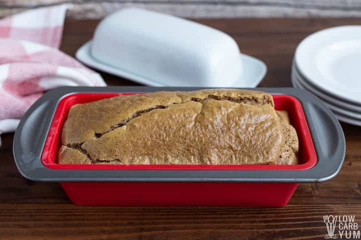 baked almond butter bread loaf in pan