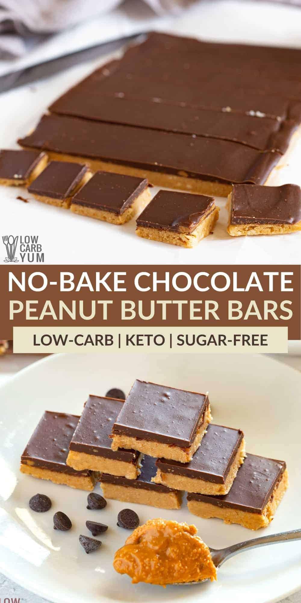 keto chocolate peanut butter bars pinterest image