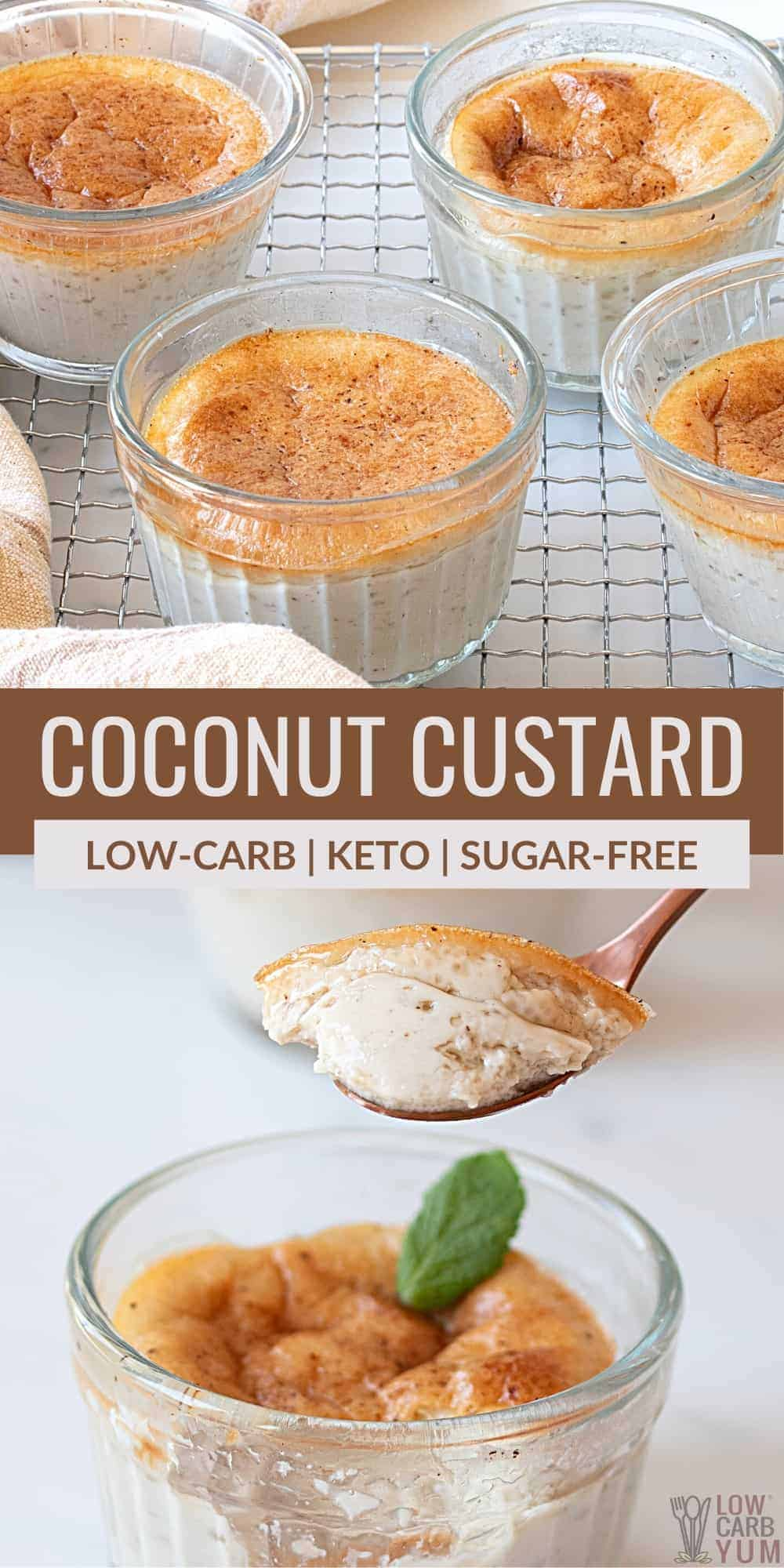 keto coconut custard pinterest image