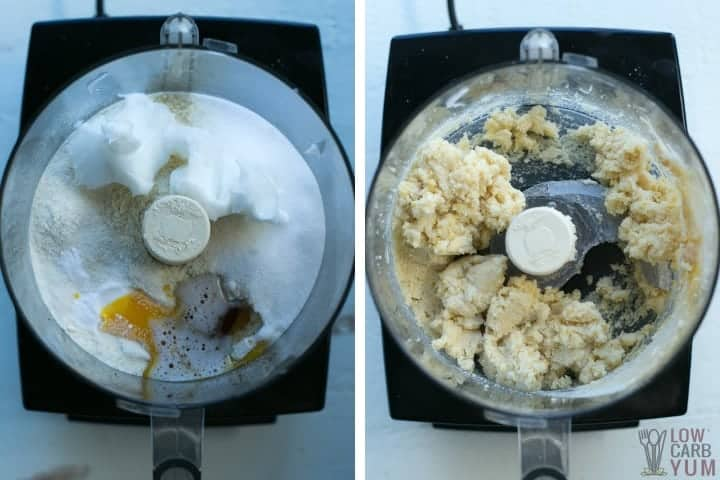 making the cookie dough in food processor