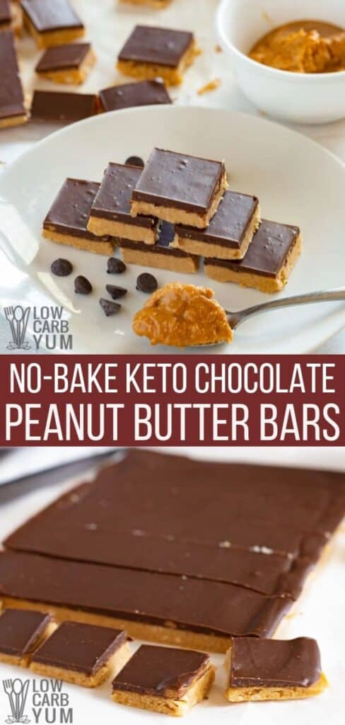 no bake keto chocolate peanut butter bars