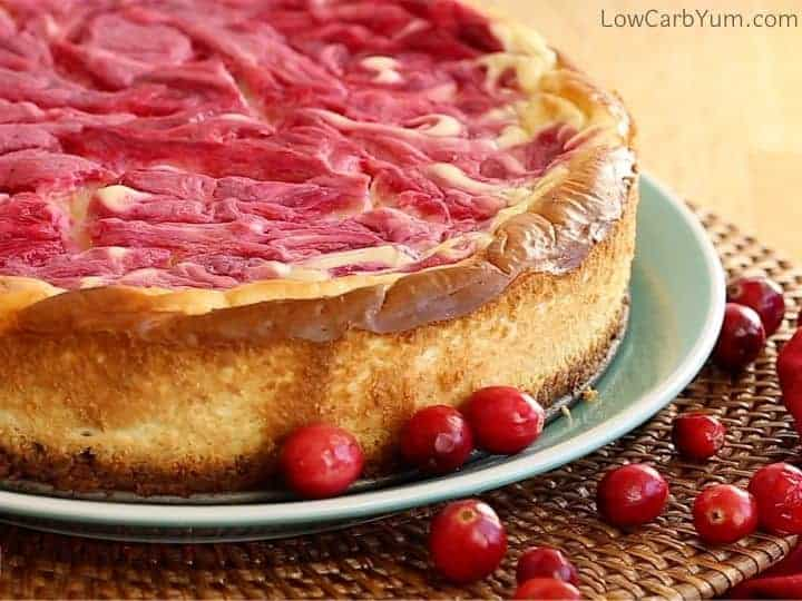 baked cranberry swirl cheesecake