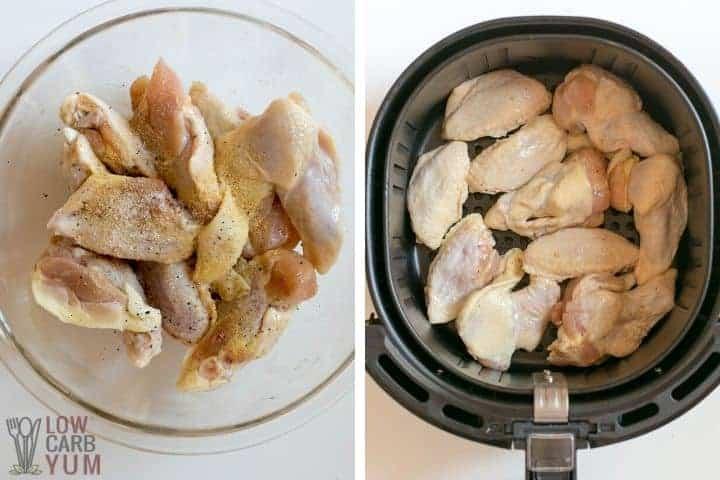 seasoned wings in bowl and basket