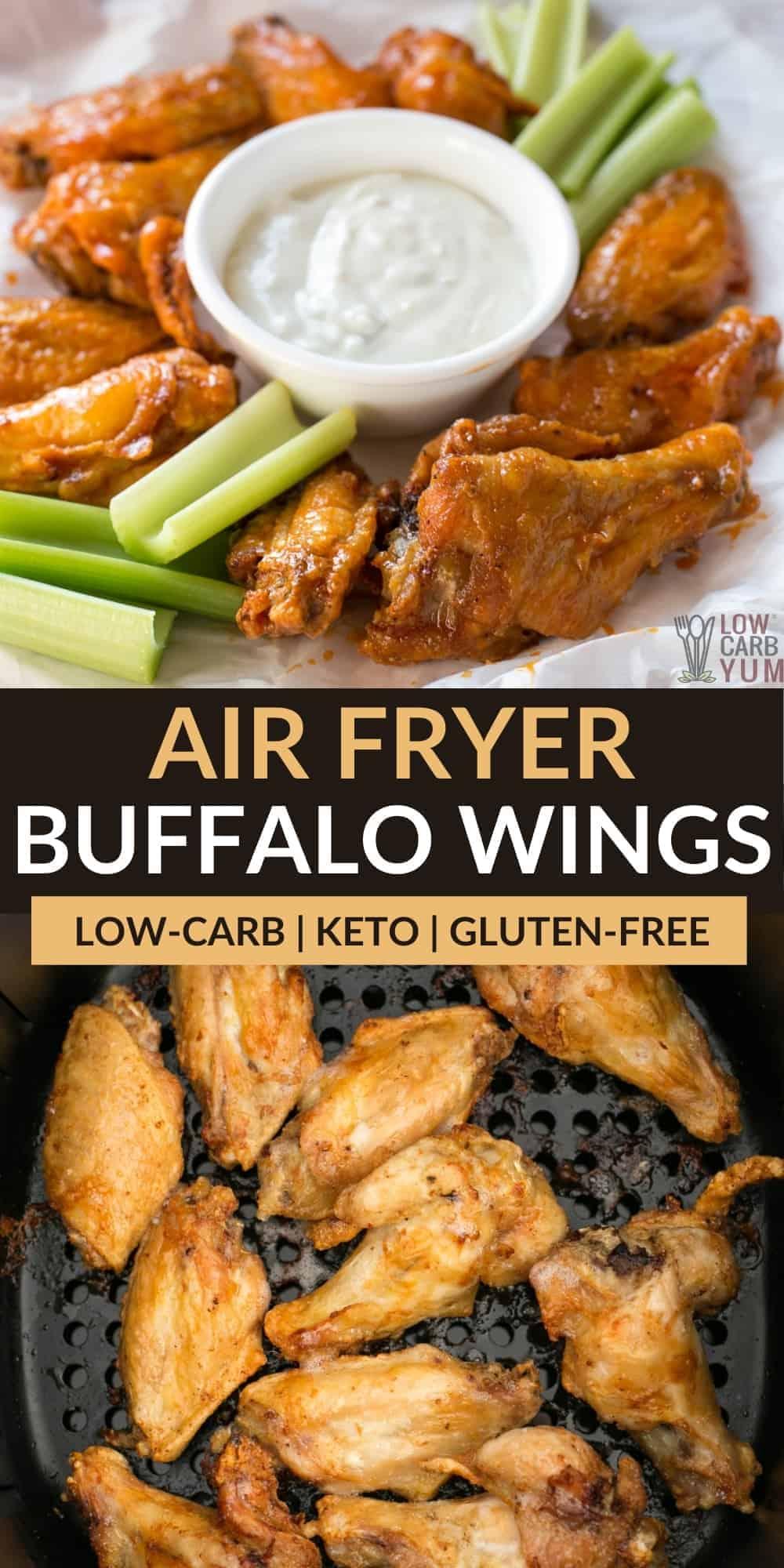 air fryer buffalo wings pinterest image