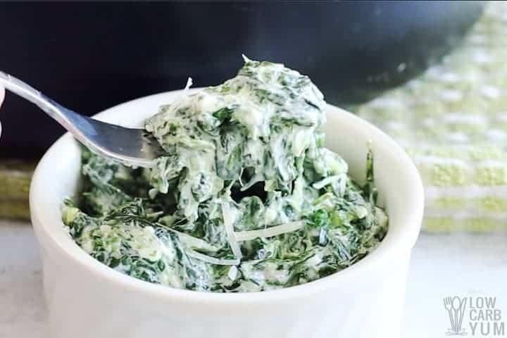 keto creamed spinach on fork