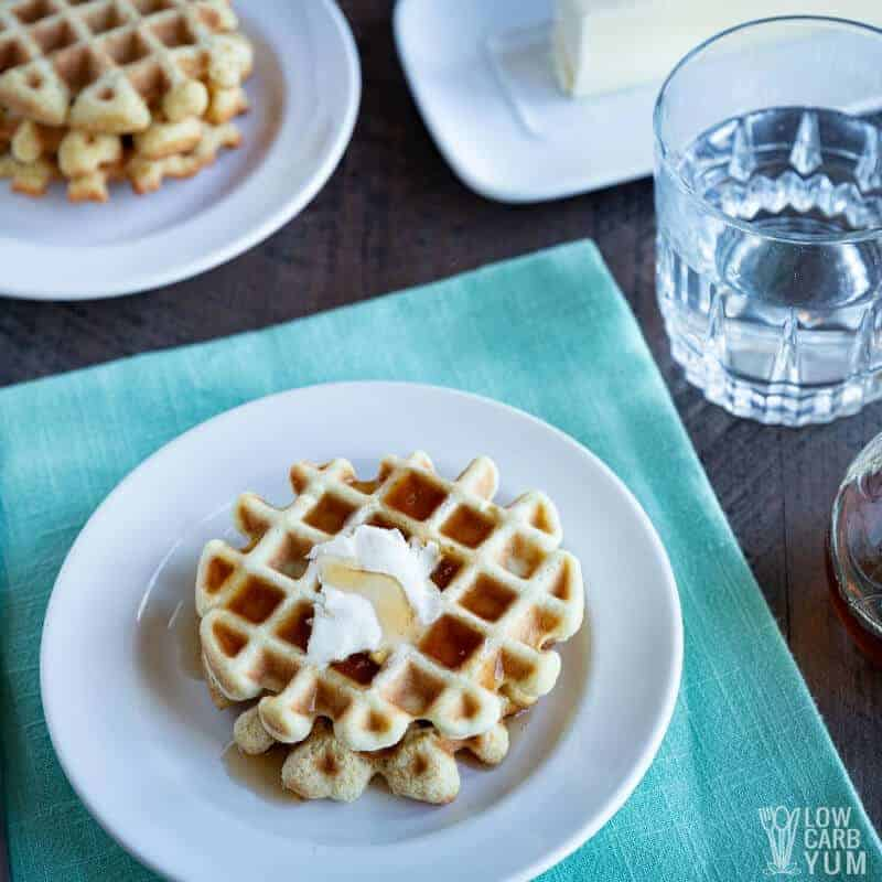 keto waffle with syrup