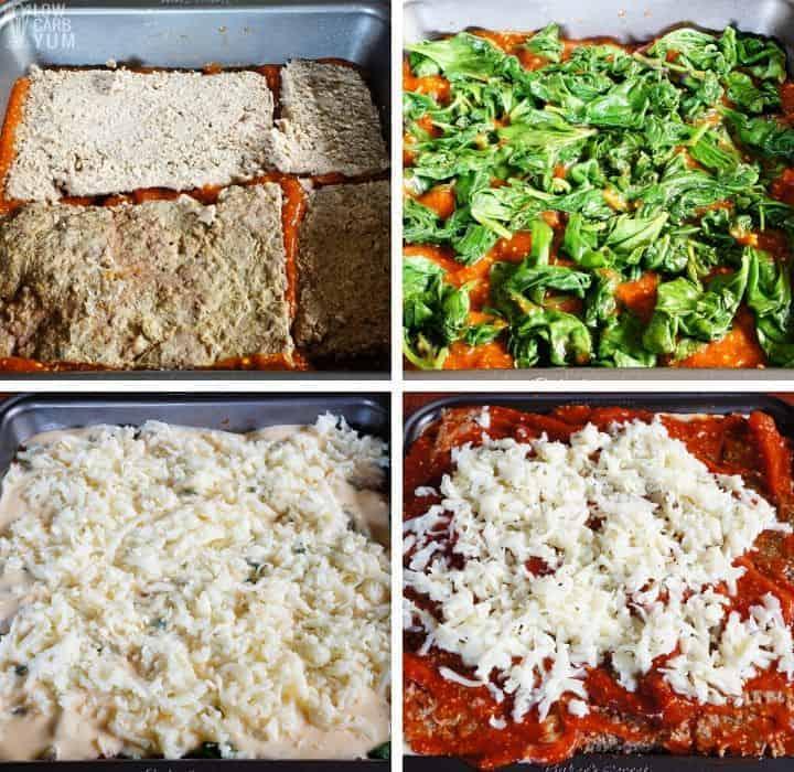 assembling no pasta lasagna