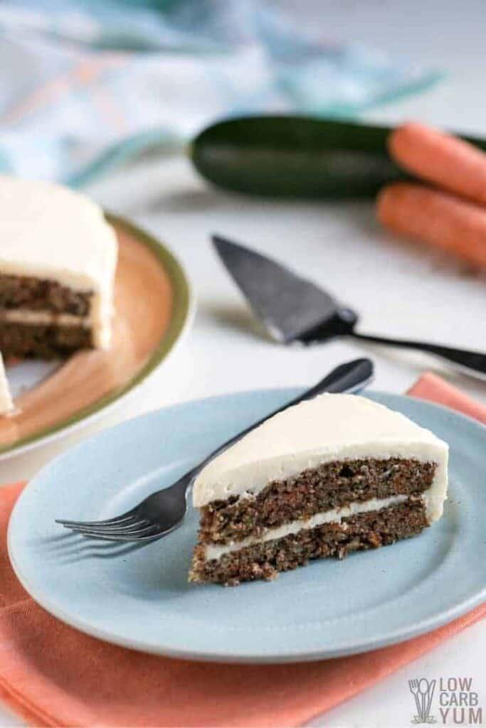 slice of keto carrot cake