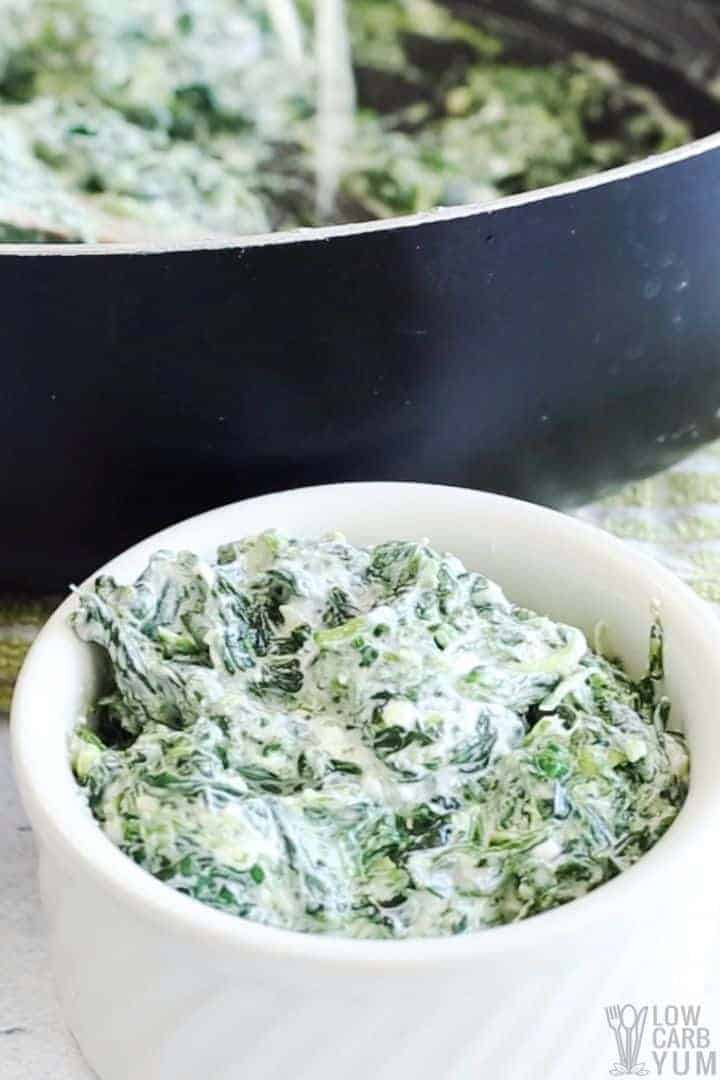 low carb creamed spinach in bowl