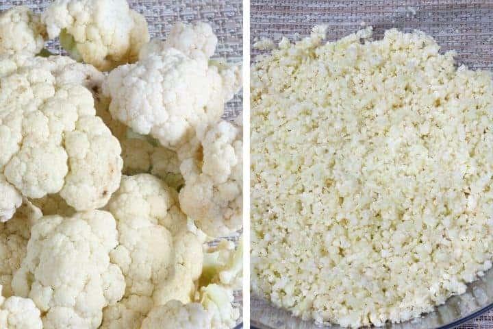 prepping cauliflower rice