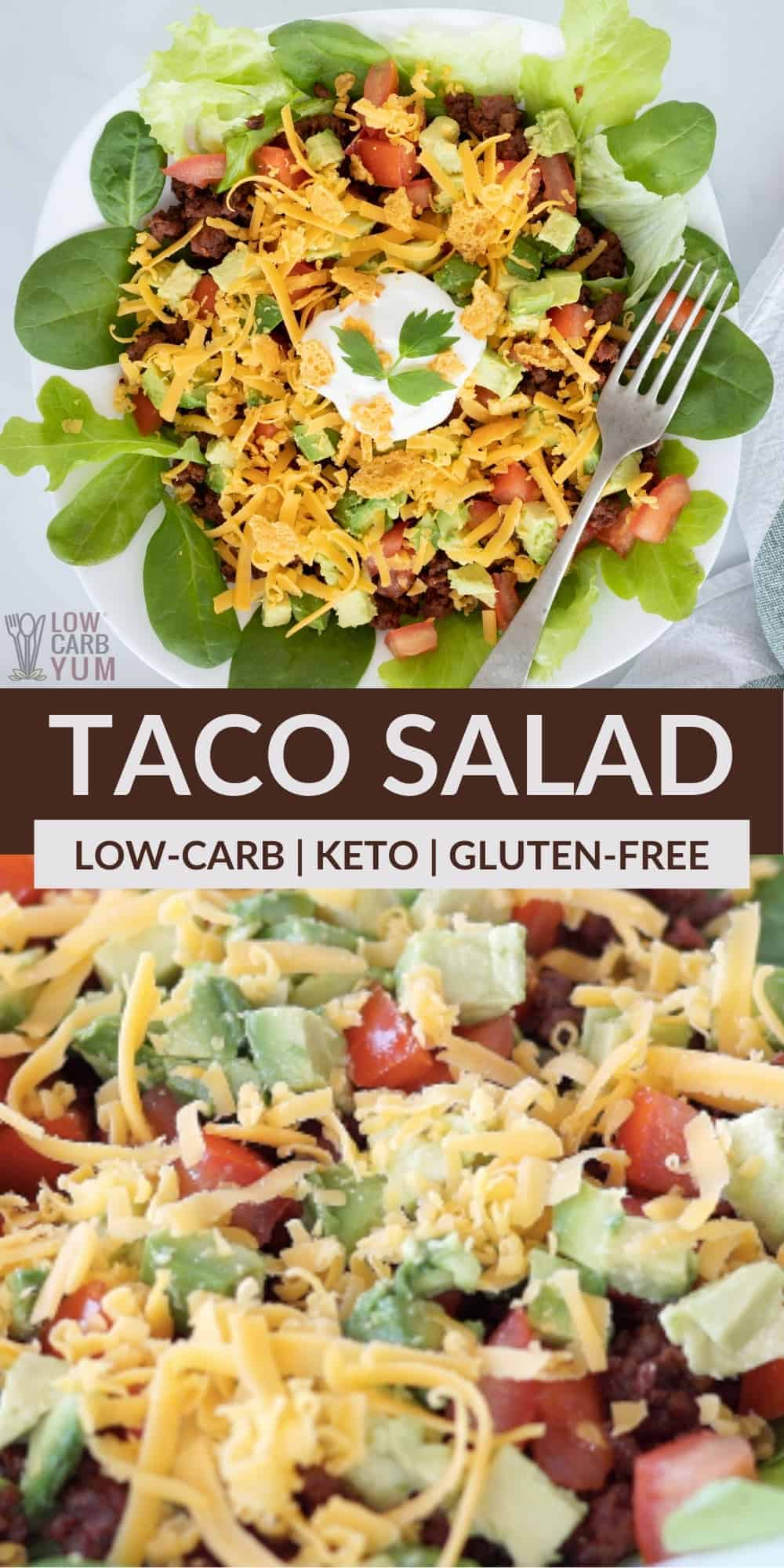 low carb keto taco salad pinterest image